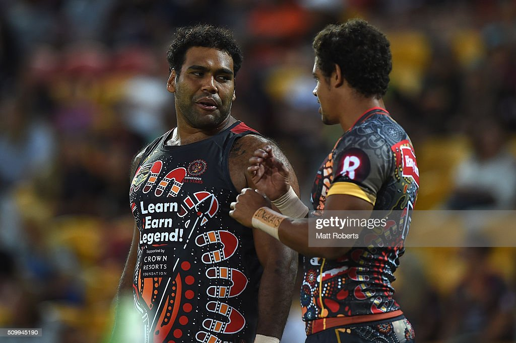 <a gi-track='captionPersonalityLinkClicked' href=/galleries/search?phrase=Sam+Thaiday&family=editorial&specificpeople=540245 ng-click='$event.stopPropagation()'>Sam Thaiday</a> of the Indigenous All Stars speaks with Dane Gagai before the NRL match between the Indigenous All-Stars and the World All-Stars at Suncorp Stadium on February 13, 2016 in Brisbane, Australia.