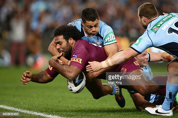Sam Thaiday of the Maroons drops the ball over the trylineduring game two of the State of Origin series between the New South Wales Blues and the...