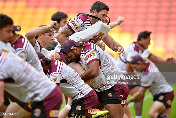 Sam Thaiday tackles Matt Gillett in a defensive drill during a Queensland Maroons State of Origin training session at Suncorp Stadium on June 21 2016...