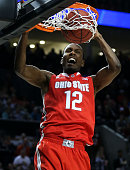 Sam Thompson of the Ohio State Buckeyes dunks against the Arizona Wildcats in the first half during the third round of the 2015 NCAA Men's Basketball...