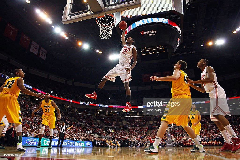 Sam Thompson #12 of the Ohio State Buckeyes dunks the ball during the second half of the game against the North Dakota State Bison at Value City Arena on December 14, 2013 in Columbus, Ohio. Ohio State defeated North Dakota State 79-62.
