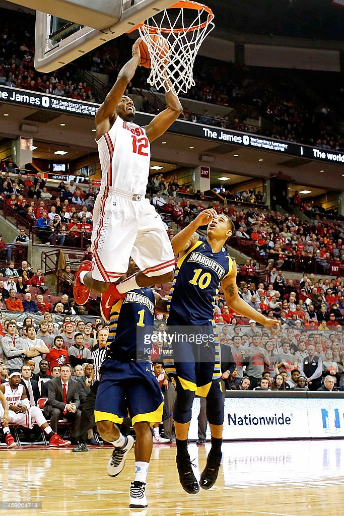 Sam Thompson of the Ohio State Buckeyes dunks the ball during the second half of the game against the Marquette Golden Eagles at Value City Arena on...
