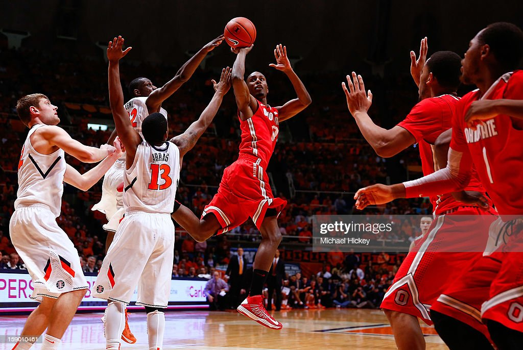 Sam Thompson #12 of the Ohio State Buckeyes shoots the ball against the Illinois Fighting Illini at Assembly Hall on January 5, 2013 in Champaign, Illinois. Ilinois defeated Ohio State 74-55.