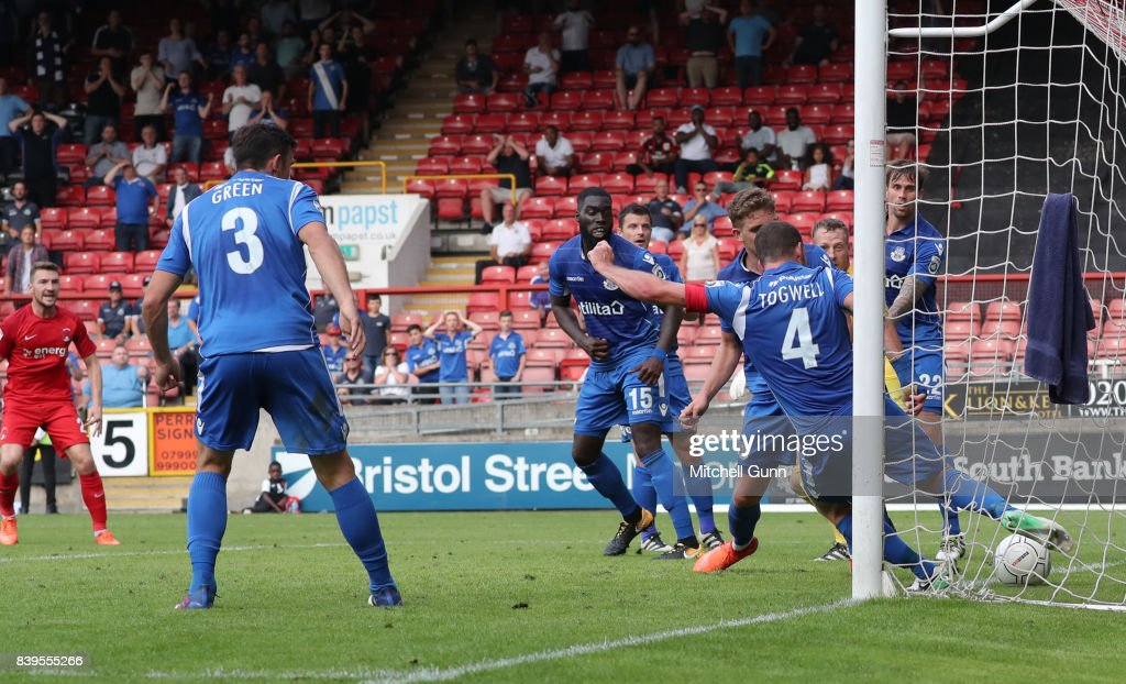 Sam Togwell of Eastleigh fails to clear the ball resulting in a goal for Craig Clay of Leyton Orient during the National League match between Leyton Orient and Eastleigh at The Matchroom Stadium on August 26, 2017 in London, United Kingdom.