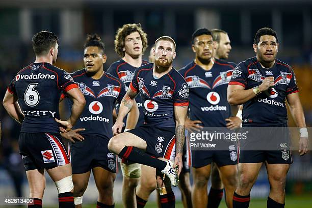 Sam Tomkins of the Warriors looks dejected as a try is disallowed during the round 21 NRL match between the New Zealand Warriors and the Cronulla...