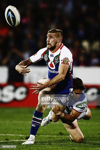 Sam Tomkins of the Warriors loses the ball forward during the round 12 NRL match between the New Zealand Warriors and the Newcastle Knights at Mt...