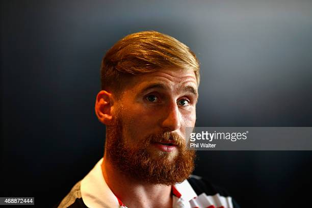 Sam Tomkins of the Warriors speaks to the media during a New Zealand Warriors NRL press conference at Mt Smart Stadium on April 8 2015 in Auckland...