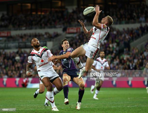 Sam Tomkins of the Warriors takes a high ball during the round 8 NRL match between the Melbourne Storm and the New Zealand Warriors at AAMI Park on...