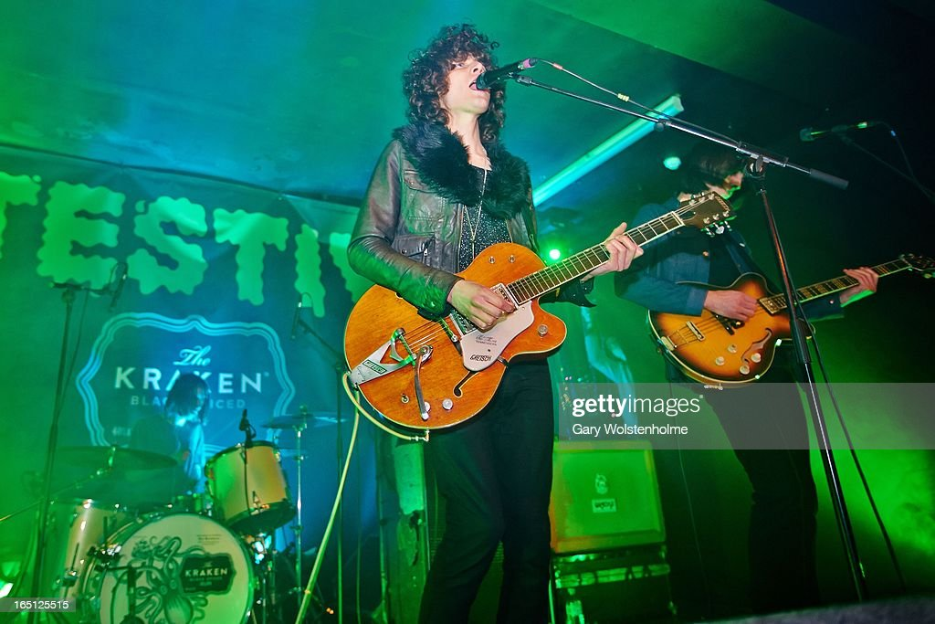 Sam Toms, James Bagshaw and Thomas Warmsley of Temples performs on stage on Day 2 of Detestival 2013 at Queens Social Club on March 31, 2013 in Sheffield, England.
