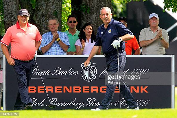 Sam Torrance of Scotland and Costantino Rocca of Italy on the 1st tee during the first round of the Berenberg Bank Masters played at Worthsee Golf...