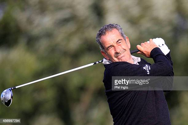 Sam Torrance of Scotland in action during the first round of the Dutch Senior Open played at The International on October 10 2014 in Amsterdam...