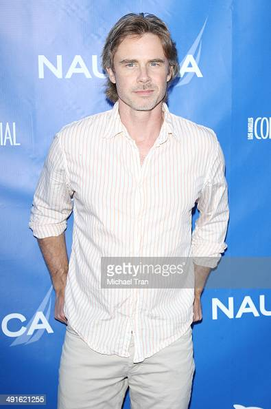 Sam Trammell arrives Nautica and LA Confidential's Oceana Beach house party held at Marion Davies Guest House on May 16 2014 in Santa Monica...