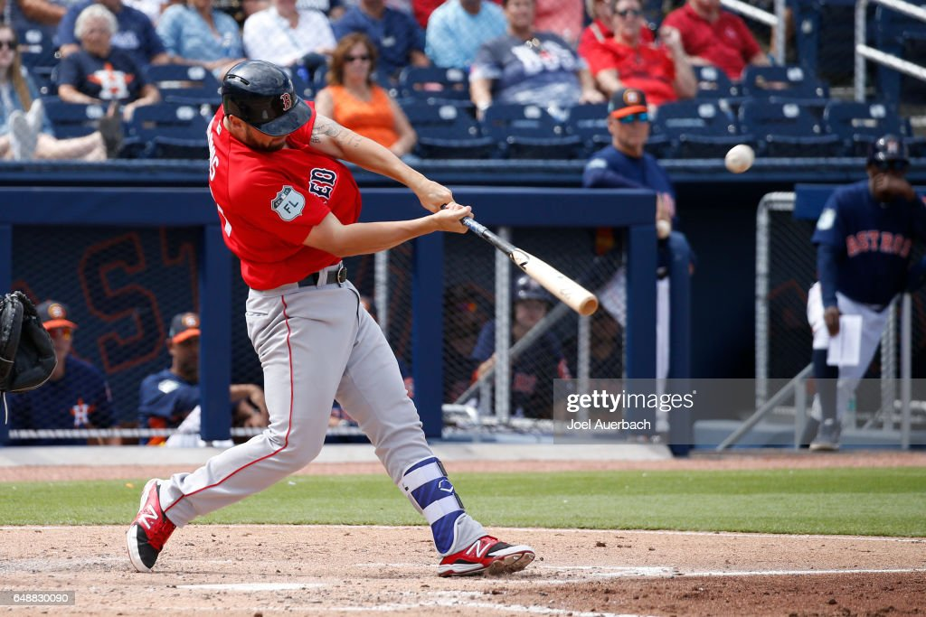 Sam Travis #59 of the Boston Red Sox hits a three run home run against the Houston Astros in the third inning during a spring training game at The Ballpark of the Palm Beaches on March 6, 2017 in West Palm Beach, Florida. The Astros and Red Sox played to a 5-5 tie.