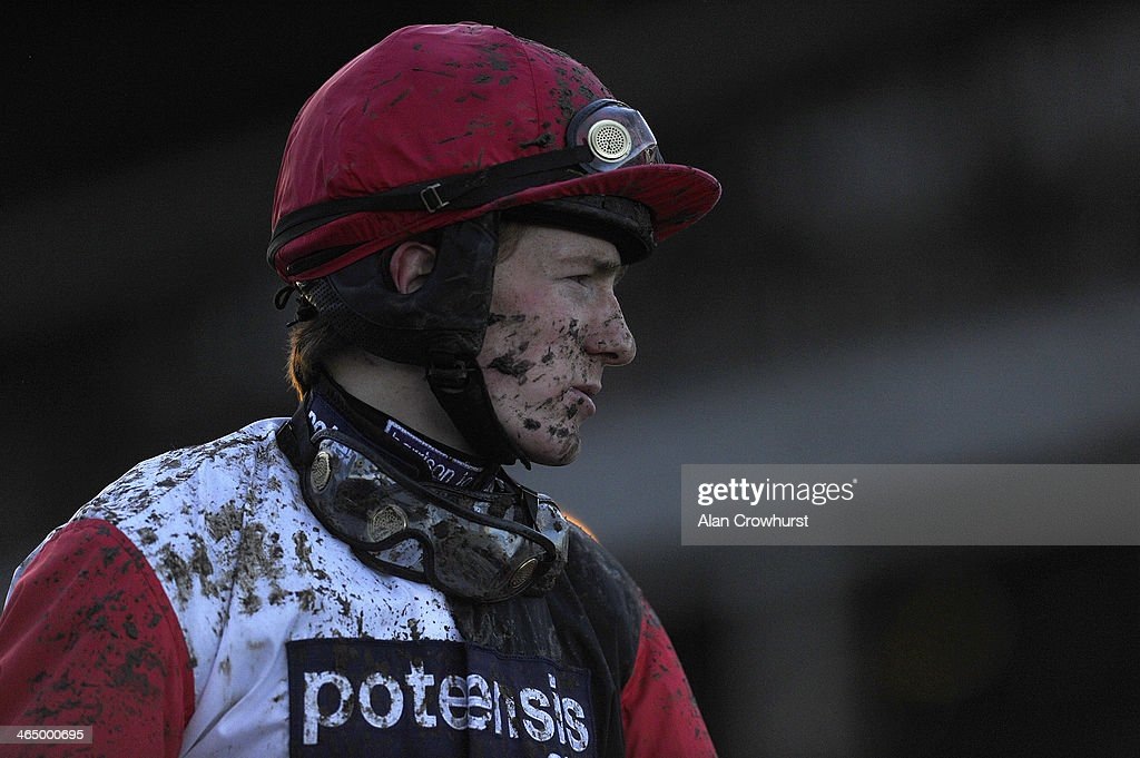 Sam Twiston-Davies after defeat on Big Bucks at Cheltenham racecourse on January 25, 2014 in Cheltenham, England.