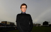 Sam TwistonDavies poses at Huntingdon racecourse on January 24 2014 in Huntingdon England