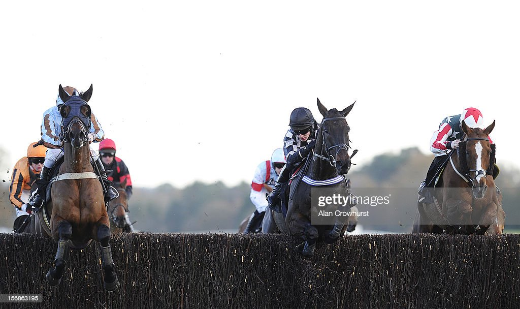 Sam Twiston-Davies riding Ackertac (R) on their way to winning The Winkworth handicap Steeple Chase from Vino griego (L) at Ascot racecourse on November 23, 2012 in Ascot, England.