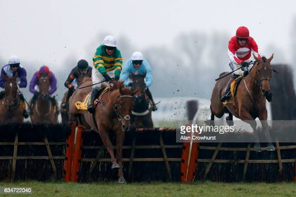 Sam TwistonDavies riding Ballyandy clear the last to win The Betfair Hurdle Race from Movewiththetimes at Newbury Racecourse on February 11 2017 in...