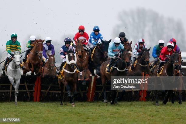 Sam TwistonDavies riding Ballyandy on their way to winning The Betfair Hurdle Race at Newbury Racecourse on February 11 2017 in Newbury England