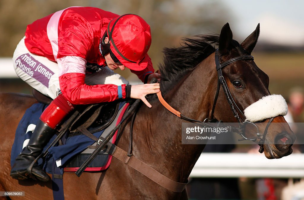 <a gi-track='captionPersonalityLinkClicked' href=/galleries/search?phrase=Sam+Twiston-Davies&family=editorial&specificpeople=6519612 ng-click='$event.stopPropagation()'>Sam Twiston-Davies</a> riding Baoulet Delaroque clear the last to win The 32Red Handicap Hurdle Race at Huntingdon racecourse on February 11, 2016 in Huntingdon, England.