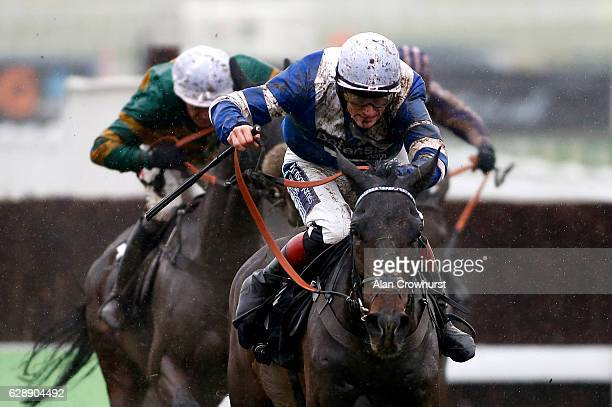 Sam TwistonDavies riding Frodon clear the last to win The Caspian Caviar Gold Cup Handicap Steeple Chase at Cheltenham Racecourse on December 10 2016...