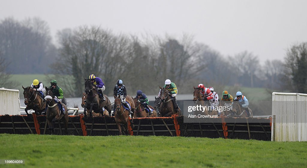 Sam Twiston-Davies riding Master Of The Sea (L) on their way to winning The Higos Insurance Services Glastonbury Handicap Hurdle Race at Wincanton racecourse on January 17, 2013 in Wincanton, England.