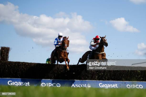 Sam TwistonDavies riding San Benedeto on their way to winning The Ascot United FC Novicesâ Handicap Steeple Chase at Ascot Racecourse on April 2 2017...