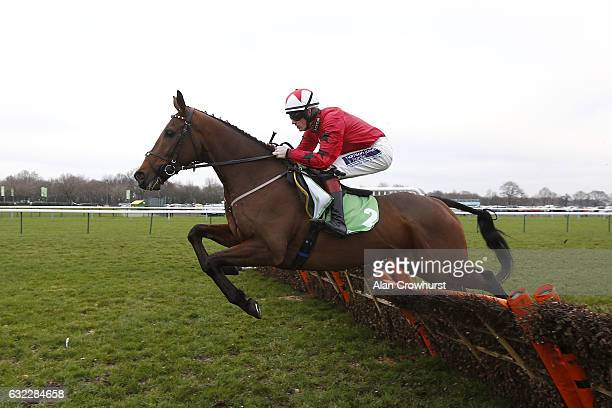 Sam TwistonDavies riding The New One on their way to winning The stanjamescom Champion Hurdle Trial at Haydock Racecourse on January 21 2017 in...