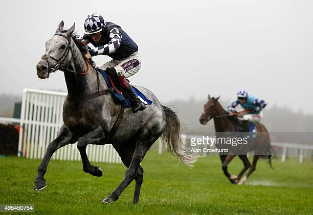 Sam TwistonDavies riding Vibrato Valtat clear the last to win The sportingbet Haldon Gold Cup Steeple Chase at Exeter racecourse on November 03 2015...