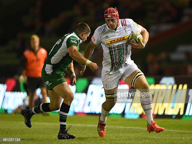 Sam Twomey of Harlequins is tackled by Fergus Mulchrone of London Irish during The Cunningham Duncombe Series match between London Irish and...