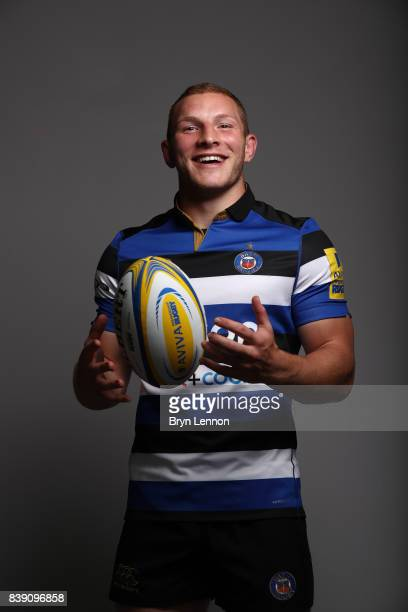 Sam Underhill of Bath poses during a photocall on August 22 2017 in Bath England