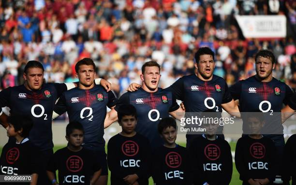 Sam Underhill of England sings the national anthem prior to the International Test match between Argentina and England at Estadio CA Colon on June 17...