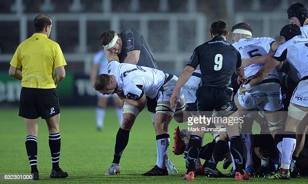 Sam Underhill of Ospreys Rugby tussles with Will Welch of Newcastle Falcons at the side of the scum during the European Rugby Challenge Cup pool 2...