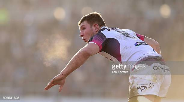 Sam Underhill of the Ospreys reacts during the European Rugby Champions Cup match between Exeter Chiefs and Ospreys at Sandy Park on January 24 2016...