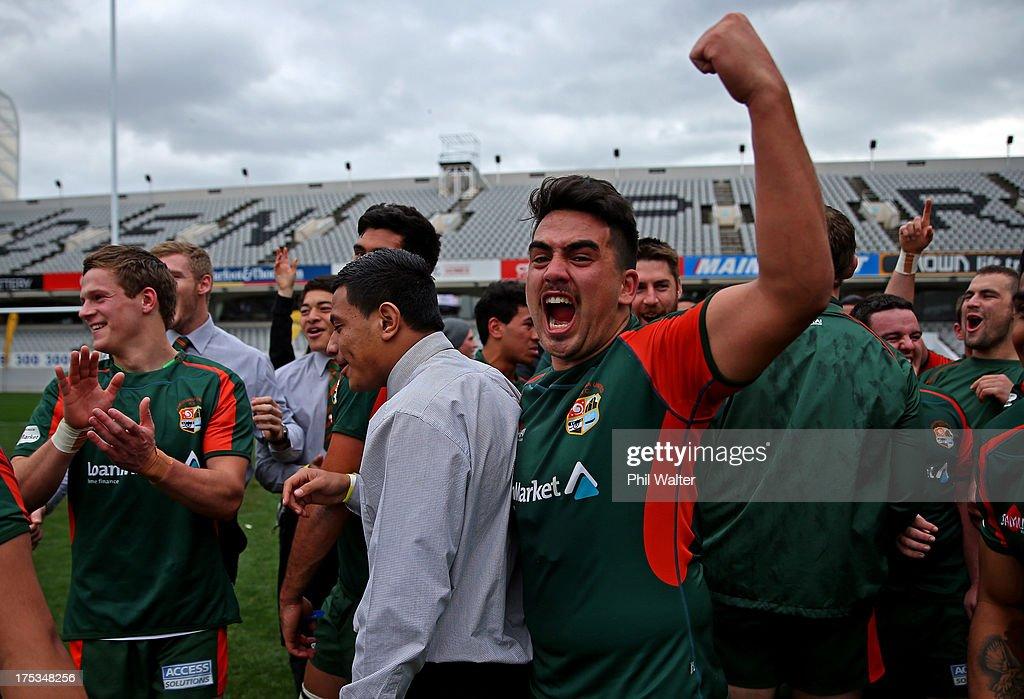 Sam Vaevae of Pakuranga celebrates following the Gallaher Shield Final match between Pakuranga and University at Eden Park on August 3, 2013 in Auckland, New Zealand.