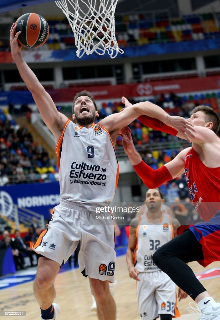 Sam Van Rossom, #9 of Valencia Basket competes with Andrey Vorontsevich, #20 of CSKA Moscow in action during the 2017/2018 Turkish Airlines EuroLeague Regular Season Round 6 game between CSKA Moscow and Valencia Basket at Megasport Arena on November 9, 2017 in Moscow, Russia.