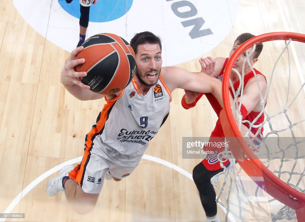 Sam Van Rossom, #9 of Valencia Basket in action during the 2017/2018 Turkish Airlines EuroLeague Regular Season Round 6 game between CSKA Moscow and Valencia Basket at Megasport Arena on November 9, 2017 in Moscow, Russia.