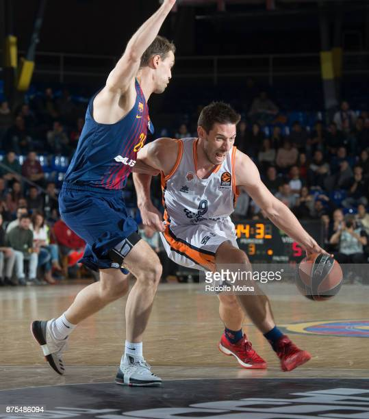 Sam Van Rossom #9 of Valencia Basket in action during the 2017/2018 Turkish Airlines EuroLeague Regular Season Round 8 game between FC Barcelona...