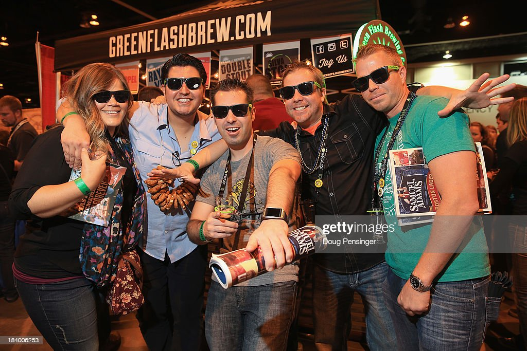 Sam Vieira, Marco Manzo, Justin Morrisroe, Scott Alexander and Matt Brady of California pose for a photo as they stop by the Green Flash Brewing Company of San Diego, California at the 32nd annual Great American Beer Festival at the Colorado Convention Center on October 10, 2013 in Denver, Colorado. The GABF runs October 10-12 and 49,000 attendees will be offered 3100 beers from 624 breweries.