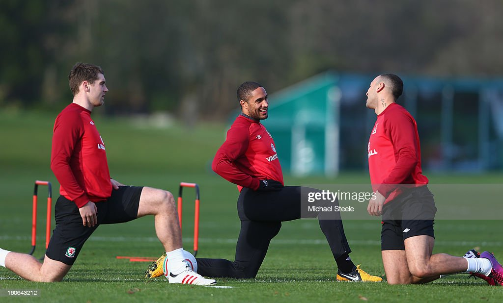 Sam Voakes (L), Ashley Williams (C) and Craig Davies (R) during the Wales training session at Hensol Castle Park on February 4, 2013 in Cardiff, Wales.