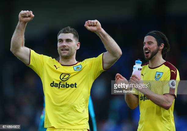 Sam Vokes and George Boyd of Burnley salute the travelling fans in victory after the Premier League match between Crystal Palace and Burnley at...