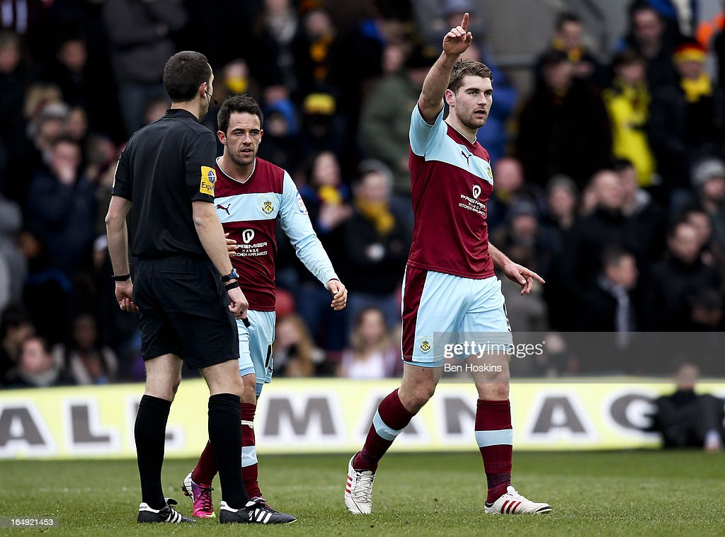Sam Vokes of Burnley celebrates after scoring the equalising goal during the npower Championship match between Watford and Burnley at Vicarage Road on March 29, 2013 in Watford, England.