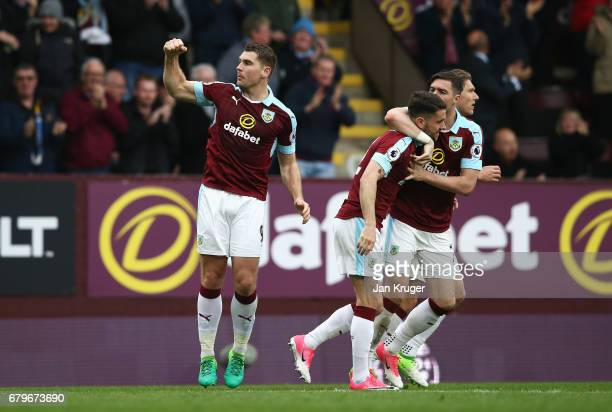 Sam Vokes of Burnley celebrates scoring his sides second goal during the Premier League match between Burnley and West Bromwich Albion at Turf Moor...