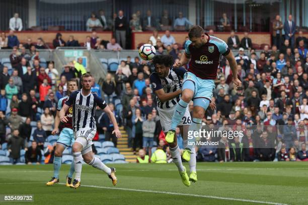 Sam Vokes of Burnley heads towards goal during the Premier League match between Burnley and West Bromwich Albion at Turf Moor on August 19 2017 in...