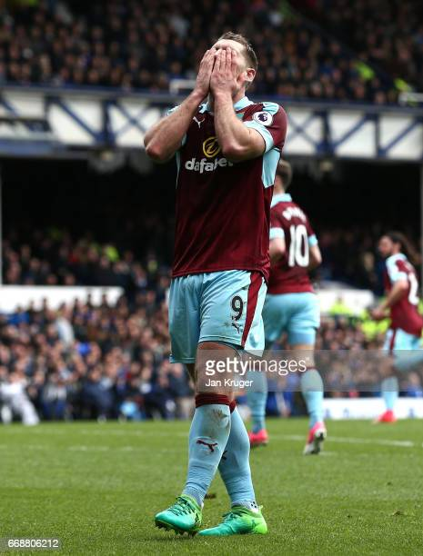 Sam Vokes of Burnley reacts to missing a chance during the Premier League match between Everton and Burnley at Goodison Park on April 15 2017 in...