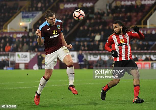 Sam Vokes of Burnley scores his sides first goal with a header during the Emirates FA Cup third round replay between Burnley and Sunderland at Turf...
