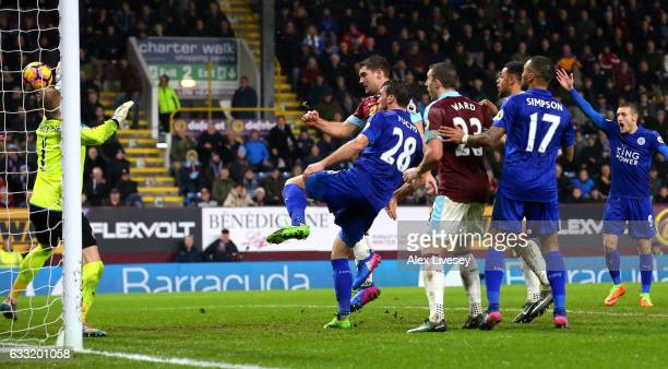 Sam Vokes of Burnley scores the opening goal during the Premier League match between Burnley and Leicester City at Turf Moor on January 31 2017 in...