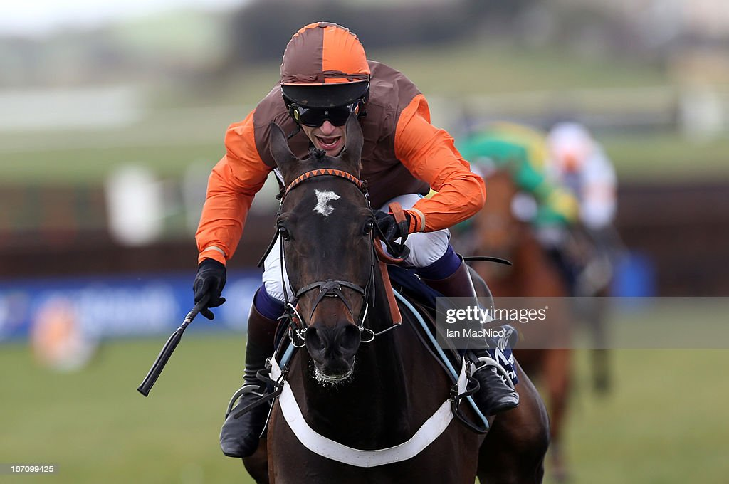 Sam Waley Cohen riding Rajdhani Express wins the Arcadia Consulting William Dickie and Mary Robertson Future Champion Novices Steeplechase Race at Ayr racecourse on April 20, 2013 in Ayr, Scotland.
