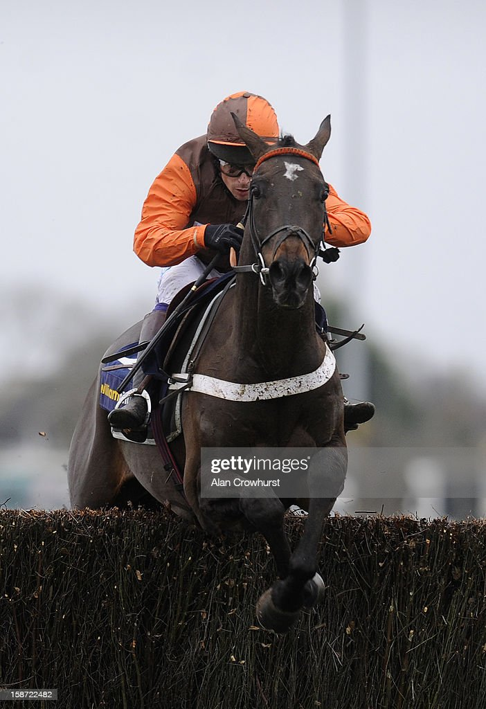 Sam Waley-Cohen riding Rajdhani Express clear the last to win The William HIll - Download The App Novices' Handicap Steeple Chase at Kempton racecourse on December 26, 2012 in Sunbury, England.