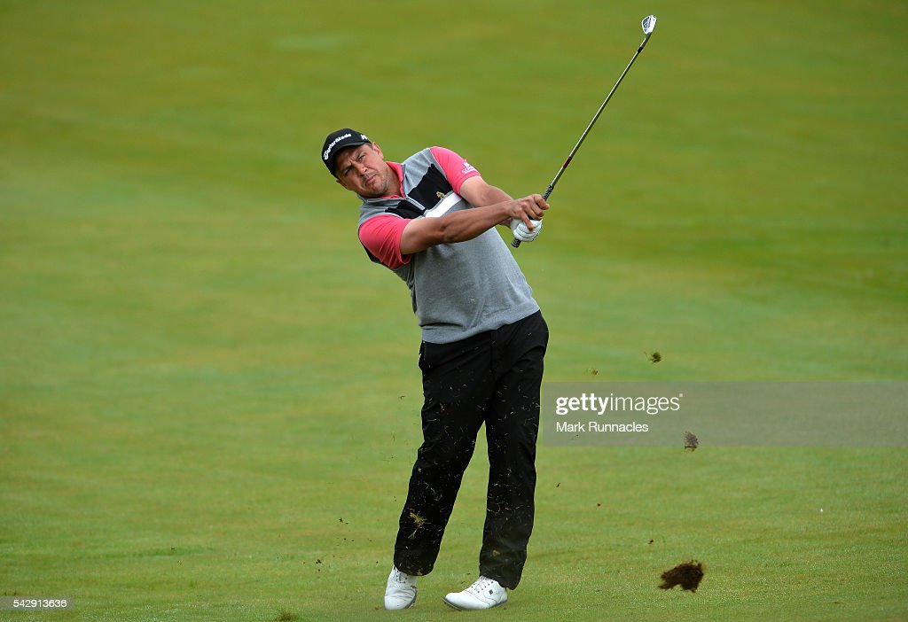 <a gi-track='captionPersonalityLinkClicked' href=/galleries/search?phrase=Sam+Walker+-+Golfer&family=editorial&specificpeople=565962 ng-click='$event.stopPropagation()'>Sam Walker</a> of England on his second shot to the 1st during the third day of the 2016 SSE Scottish Hydro Challenge at the MacDonald Spey Valley Golf Course on June 25, 2016 in Aviemore, Scotland.