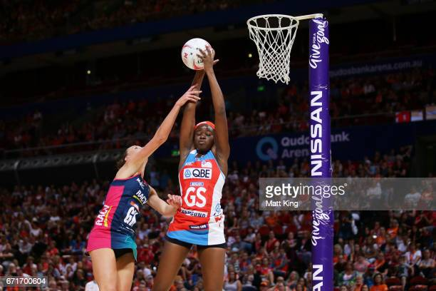 Sam Wallace of the Swifts is challenged by Emily Mannix of the Vixens during the round nine Super Netball match between the Swifts and the Vixens at...